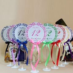 Personalized Floral Design Paper Table Number Cards With Holder With Ribbons
