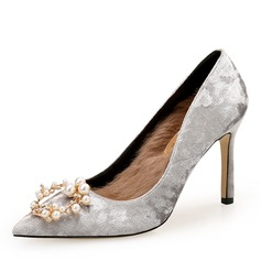 Women's Suede Stiletto Heel Pumps Closed Toe With Rhinestone Imitation Pearl shoes