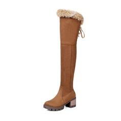 Kvinnor Mocka Tjockt Häl Pumps Stövlar Over The Knee Boots med Zipper skor