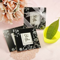 Elegant Black & White Glass Photo Coasters(set of 2pcs)