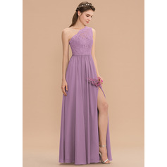 One-Shoulder Floor-Length Chiffon Lace Bridesmaid Dress With Split Front (266197925)