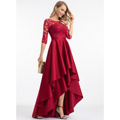 Scoop Neck Burgundy Satin Dresses (293250304)