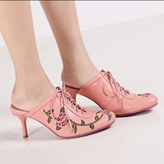 Women's Real Leather Stiletto Heel Pumps Closed Toe Slingbacks With Braided Strap shoes