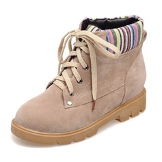 Women's Suede Low Heel Boots With Ribbon Tie shoes