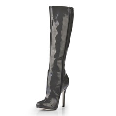 Patent Leather Stiletto Heel Pumps Closed Toe Knee High Boots shoes