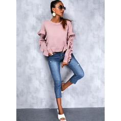 Round Neck Long Sleeves Regular Solid Casual Pullovers (1002265296)