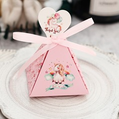 Classic Cubic Card Paper Favor Boxes With Ribbons