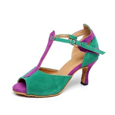 Women's Suede Heels Sandals Latin With T-Strap Buckle Dance Shoes