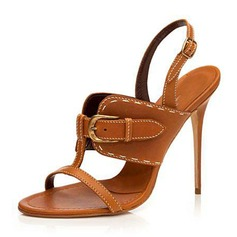 Women's PU Stiletto Heel Sandals Pumps Peep Toe Slingbacks Slippers With Buckle shoes
