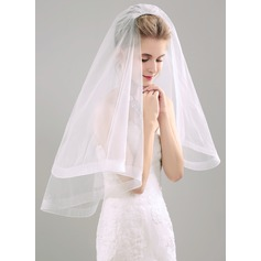 Two-tier Elbow Bridal Veils With Ribbon