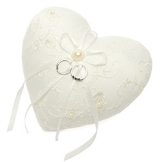 Heart Shaped Ring Pillow With Ribbons (103018296)