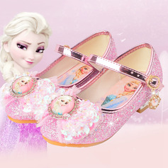 Girl's Round Toe Closed Toe Leatherette Low Heel Flats With Bowknot Buckle Sparkling Glitter