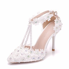 Women's Leatherette Stiletto Heel Closed Toe Pumps Sandals With Flower Lace-up Tassel Braided Strap