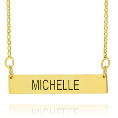 Custom 18k Gold Plated Silver Engraving/Engraved Bar Necklace Nameplate - Birthday Gifts Mother's Day Gifts