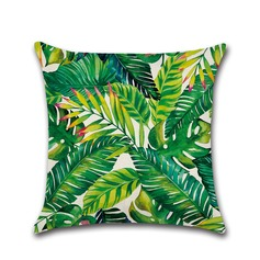Tropical Plant Printing Casual Linen Pillowcases (Sold in a single piece)