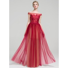 A-Line/Princess Off-the-Shoulder Floor-Length Tulle Prom Dress With Beading Sequins (018112752)