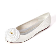 Women's Lace Satin Flat Heel Flats With Satin Flower