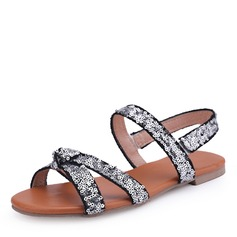 Women's Leatherette Flat Heel Sandals Flats Peep Toe Slingbacks With Sequin shoes