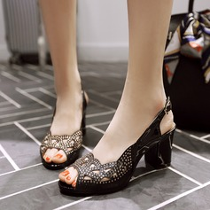 Women's Sparkling Glitter PU Chunky Heel Sandals Pumps Peep Toe Slingbacks With Sparkling Glitter shoes