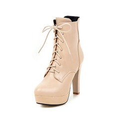 Women's Leatherette Chunky Heel Platform Ankle Boots Martin Boots With Braided Strap shoes