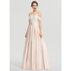 Duchesse-Linie/Princess Off-the-Schulter Bodenlang Satin Ballkleid mit Pailletten