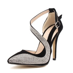Women's Leatherette Stiletto Heel Pumps With Rhinestone shoes