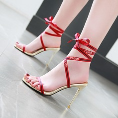 Women's Fabric Stiletto Heel Sandals Pumps Peep Toe With Bowknot shoes