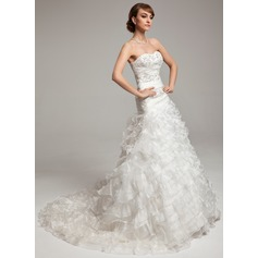 A-Line/Princess Sweetheart Chapel Train Organza Wedding Dress With Beading Cascading Ruffles