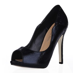 Leatherette Stiletto Heel Sandals Peep Toe shoes (085016471)