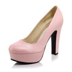 Women's Leatherette Chunky Heel Pumps Platform Closed Toe shoes (117094307)