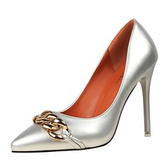 Women's Patent Leather Stiletto Heel Pumps Closed Toe With Chain shoes (085114798)