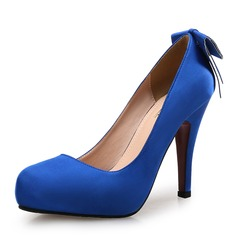 Women's Satin Stiletto Heel Pumps Platform Closed Toe With Bowknot shoes