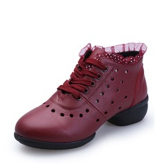 Women's Real Leather Sneakers Dance Boots With Lace-up Dance Shoes