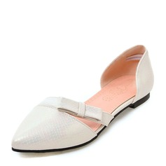 Women's Leatherette Flat Heel Sandals Flats Closed Toe With Bowknot shoes (086168524)