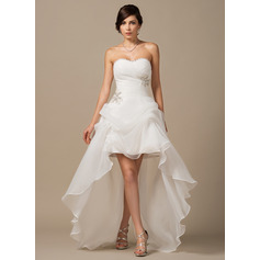 A-Line/Princess Sweetheart Asymmetrical Organza Wedding Dress With Ruffle Beading Sequins (002064197)