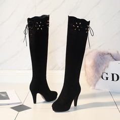 Women's Suede Chunky Heel Pumps Knee High Boots With Zipper Lace-up Hollow-out shoes
