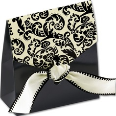 12pcs/set Damask Favor Bags with Ivory & Black Ribbon Wedding Decoration