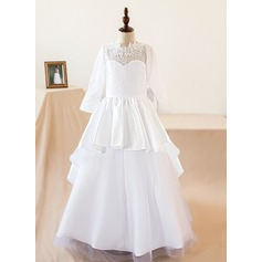 A-Line/Princess Watteau Train Flower Girl Dress - Satin Long Sleeves Scoop Neck With Appliques/Bow(s)