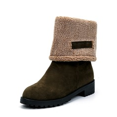 Women's Suede Low Heel Boots Mid-Calf Boots With Others shoes