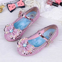 Girl's Round Toe Closed Toe Sparkling Glitter Flat Heel Flats Flower Girl Shoes With Bowknot