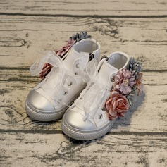 Girl's Round Toe Fabric Flat Heel Flats Sneaker & Athletic Flower Girl Shoes With Flower Lace-up
