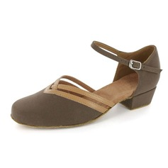 Women's Nubuck Flats Ballroom With Ankle Strap Dance Shoes