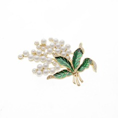 Vintage Alloy/Imitation Pearls Ladies' Brooch