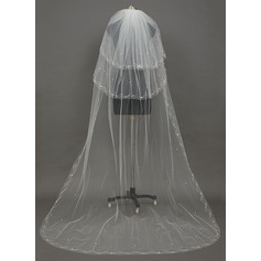Three-tier Cut Edge Chapel Bridal Veils With Faux Pearl