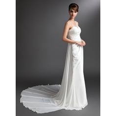 Sheath/Column One-Shoulder Watteau Train Chiffon Wedding Dress With Ruffle Beading