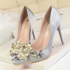 Women's Satin Stiletto Heel Pumps Closed Toe With Rhinestone Imitation Pearl shoes (085114799)