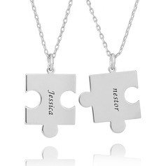 Custom Silver Puzzle Two Engraved Necklace (Set of 2) - Birthday Gifts Mother's Day Gifts (288221668)