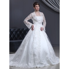 Ball-Gown Strapless Cathedral Train Satin Wedding Dress With Lace Bow(s)