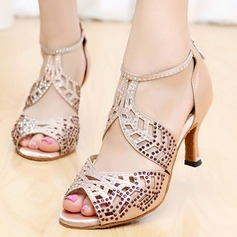 Women's Satin Heels Pumps Latin With Rhinestone Ankle Strap Hollow-out Dance Shoes