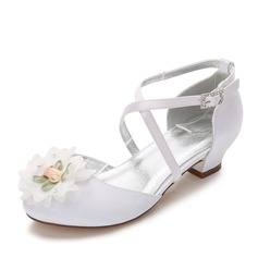 Girl's Round Toe Closed Toe Mary Jane Silk Like Satin Low Heel Flower Girl Shoes With Rhinestone Applique